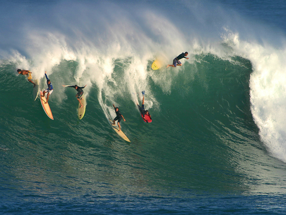 photo of big wave surfing